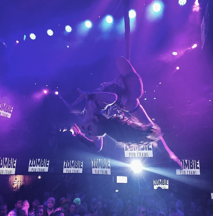Aerial dance, aerialist, aerial hammock, aerial sling, aerial silks, aerial contortion, zombie pub crawl, Halloween party, Halloween events, party planner, event entertainment, Minneapolis events, cirque, circus artists, nightclubs, night life, Minneapolis bars, bar crawl,