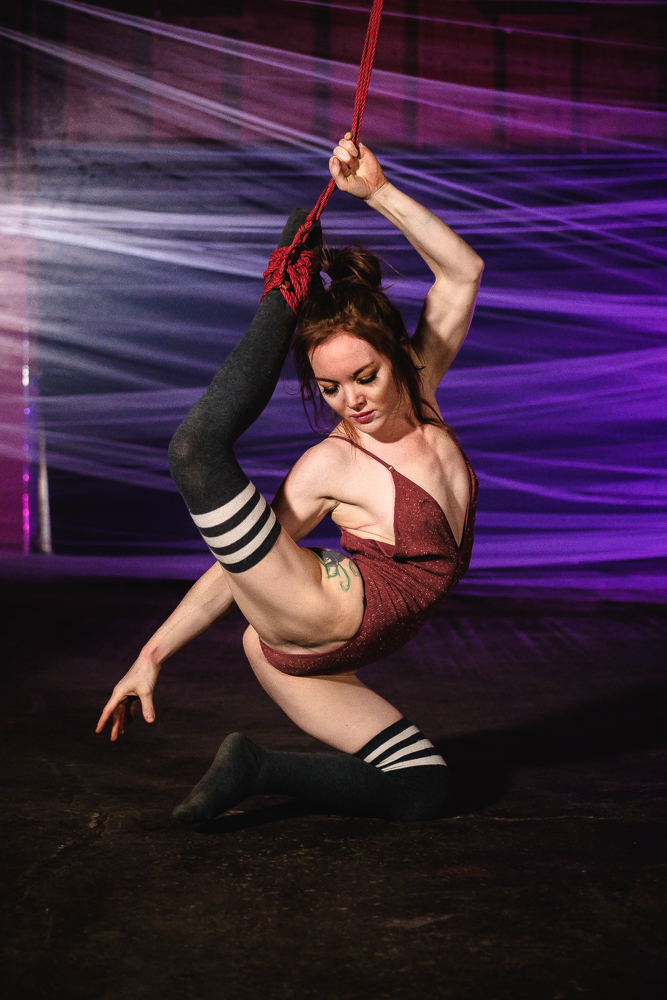 Contortionist, shibari, shibari contortion, contortion, bondage, bondage contortion, flexibility, flexible shibari, Minneapolis, Las Vegas, flexible girls, splits, thigh high stockings, thigh highs, stockings, bodysuit, contortion suspension, aerial contortion, girls with tattoos, butt tattoo, redhead contortionist, redhead bondage,